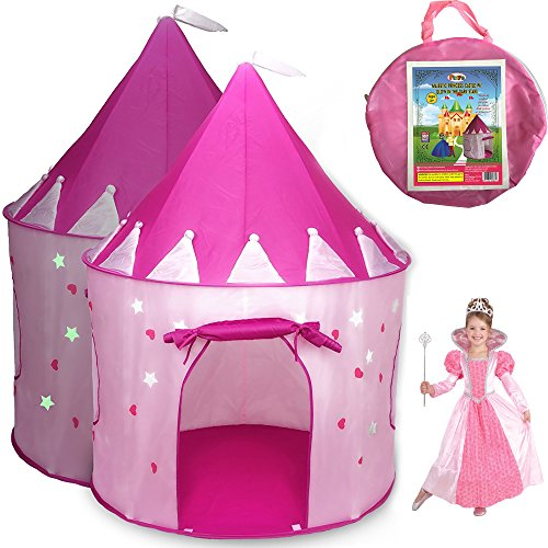 Princess Castle Play Tent for Girls with Glow in the Dark Stars - Childrens Play Tents for Indoor & Outdoor Use + Carrying Case