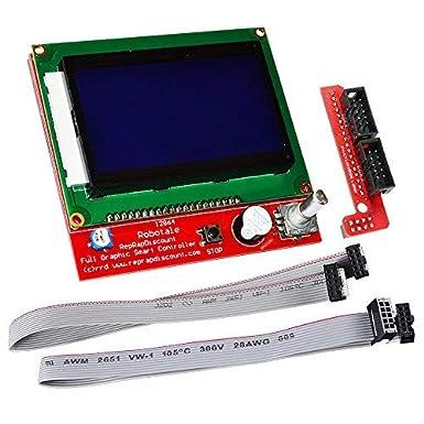 Kookye - Pantalla LCD 12864 Graphic Smart con módulo controlador, adaptador de conector y cable para impresora 3D Reprap RAMPS 1.4 con kit Arduino Mega 2560 R3 Shield