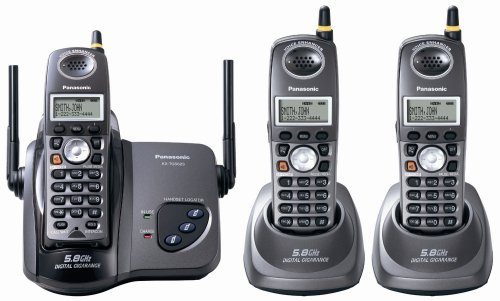 Panasonic KX-TG5623B Black 5.8 GHz FHSS GigaRange  Digital Cordless Telephone with Three Handsets