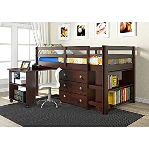 DONCO Kids 760-CP Low Study Loft Bed, Dark Cappuccino/White, N/A