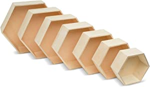 Wooden Hexagon Floating Shelves with Backs, Set of 7, Unfinished for Crafts and DIY Wall Décor: Modern, Geometric, Rustic, or Honeycomb, by Woodpeckers