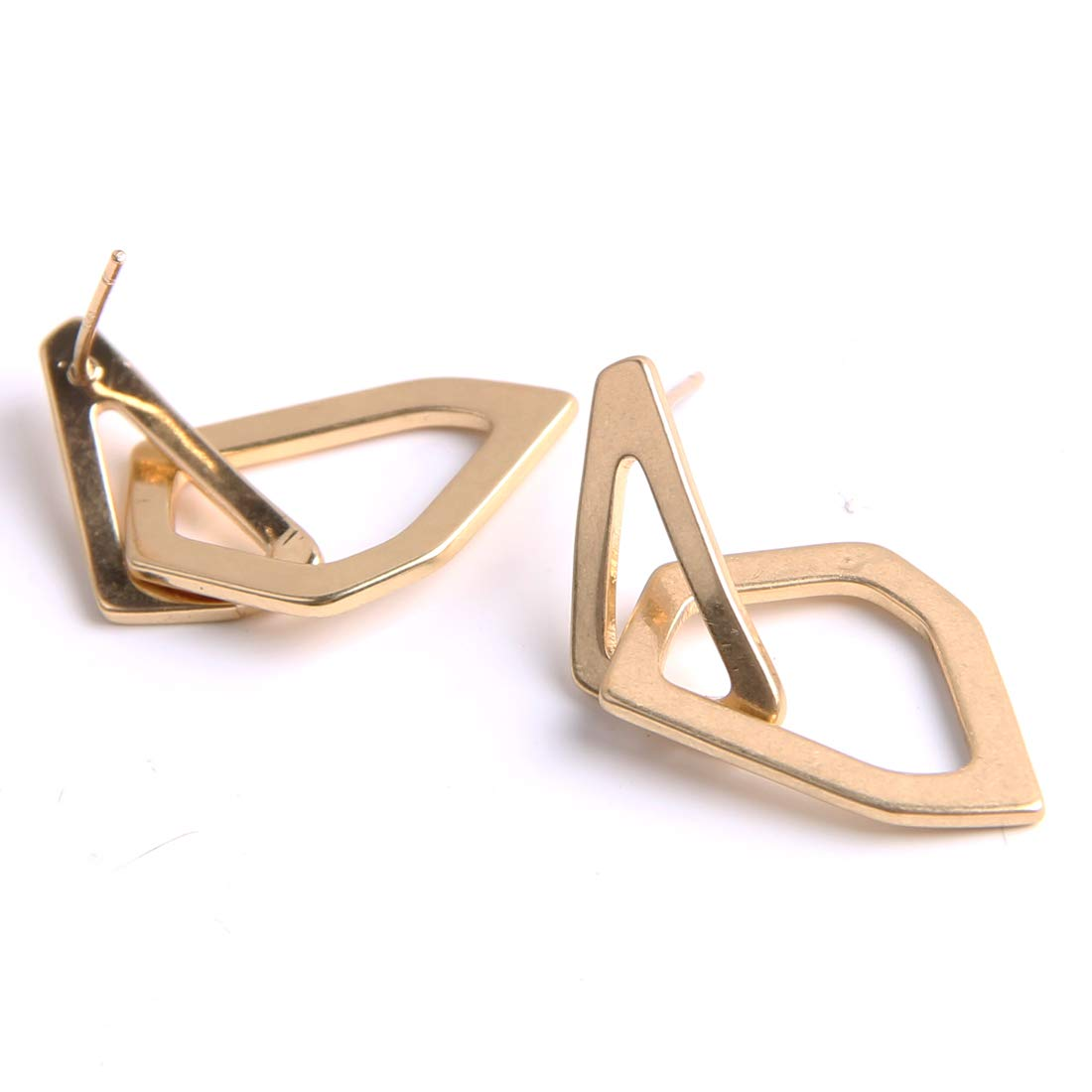 Yeslady Personality Geometry Triangle Dangle Earring Irregularity Gold Plated Drop Earring for Girls Women