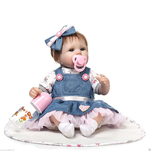 Realistic Reborn Baby Doll 45cm 18 inch Real Look Alive Baby Soft Vinyl Silicone With Cheap Magnetic Dummy