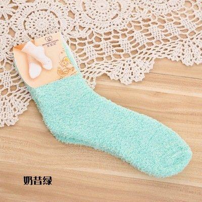 calcetín Toallas Gruesas de Color sólido Medio Piso Polar Fleece Coral cálidos Toalla Terry Candy Color
