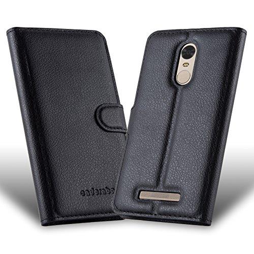 Cadorabo - Funda Alcatel ONE Touch POP C1 Book Style de Cuero Sintético en Diseño Libro - Etui Case Cover Carcasa Caja Protección (con función de suporte y tarjetero) en NEGRO-FANTASMA NEGRO-FANTASMA