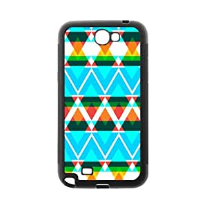 Aztec Colorful Pattern Bohemian Style Blue Zigzag Design Custom Cover Case For Samsung N7100 GALAXY Note2(Black) with Best Silicon Rubber