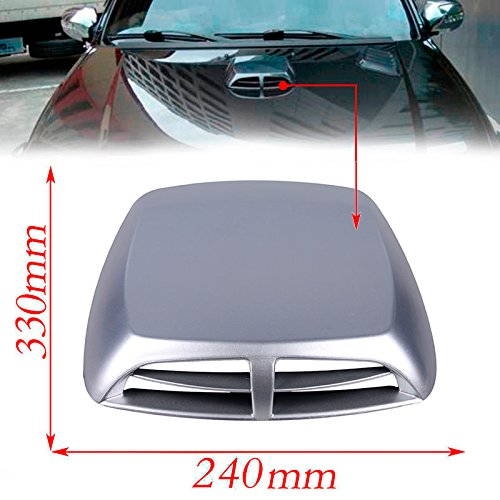 - CHAMPLED Decorative/Functional Car Silver Gray Carbon Fiber Look Racing Style Hood Scoop Air Flow Vent For FORD CHRYSLER CHEVY CHEVROLET DODGE CADILLAC JEEP GMC PONTIAC HUMMER LINCOLN BUICK