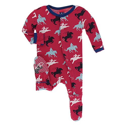 Kickee Pants Little Boys Print Footie With Snaps - Flag Red Cowboy, 9-12 Months ()