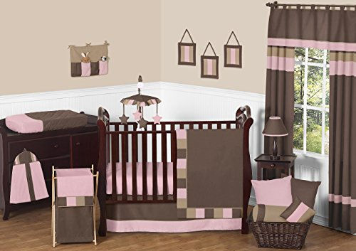 Modern Soho Pink and Brown Baby Girl 11pc Crib Bedding Set without (Soho Pink Wall)