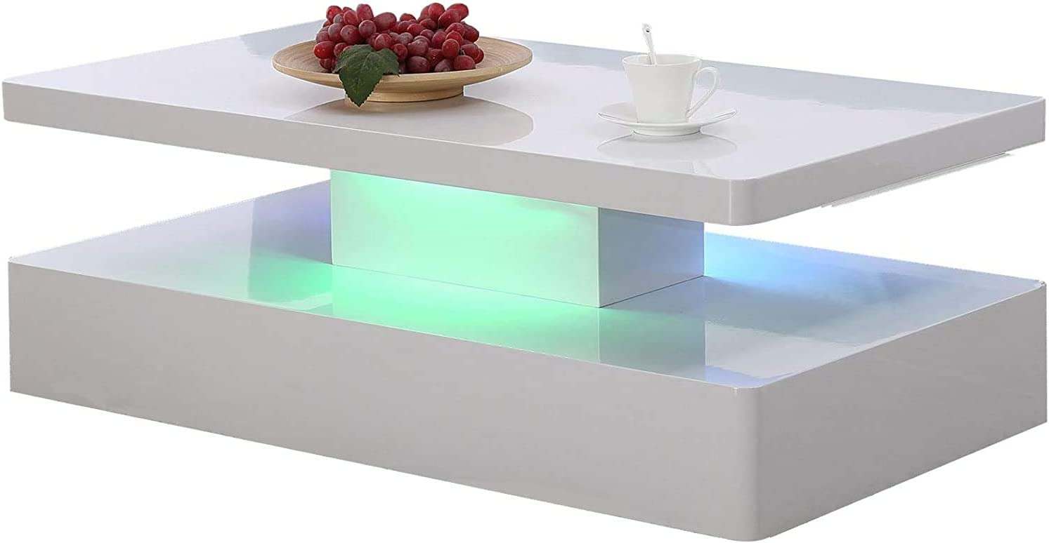 Mecor Modern Glossy White Coffee Table W/LED Lighting, 2 Tier Rectangle Design Living Room Furniture
