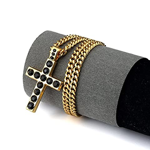 NYUK Mens Cross Pendant 18K Gold Pendants Chain Diamond Necklace(Black)