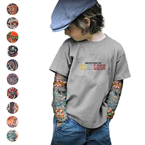 Tattoo Sleeves for Kids x2  Many Styles  Children#039s Punk Rock Costume  Sun Protection