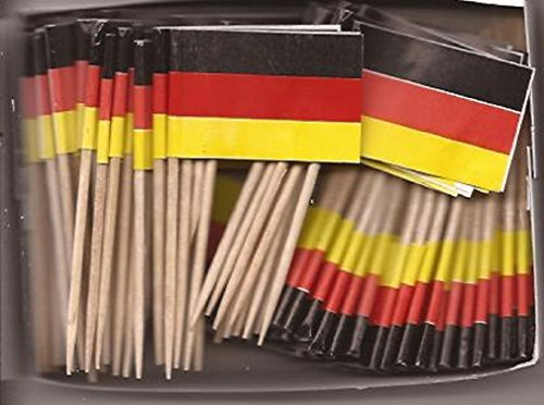 25 Box Wholesale Lot of Germany Toothpick Flags, 2500 Small Mini German Flag Cupcake Toothpicks or Cocktail - Flag German Picks