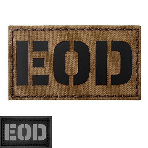 Coyote Brown Infrared EOD Explosive Ordnance Disposal Bomb Squad Tan Arid 3.5x2 Tactical Hook&Loop Patch
