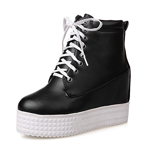 AgooLar Women's High-Heels Soft Material Low top Solid Lace-up Boots Black bEWi3bwg