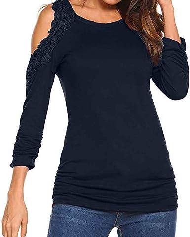 Luckycat Encaje Mujer Camiseta Elegante Casual Hombros Descubiertos Blusa Mangas Largas Cuello V Suelto Top: Amazon.es: Ropa y accesorios