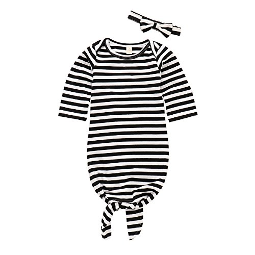 Striped Gown - NZRVAWS Newnorn Boy Outfits Baby Sleep Sack with Bow Headband Long Sleeve Striped Baby Sleepwear Hospital Gown for Boys Baby Boy Sleepers for Spring Summer 0-6 Months