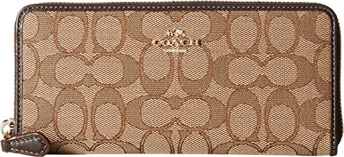 Coach Women's Signature Slim Accordion Zip Wallet, Light Gold, Khaki, Brown, OS