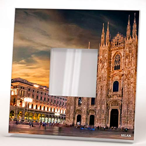- Milano Duomo Cathedral Milan Skyline City Italy Wall Framed Mirror Printed Decor Home Design Gift