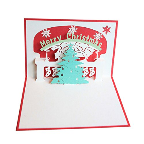 Fenical Merry Christmas Greeting Card 3D Christmas Tree Pop-up Christmas Card