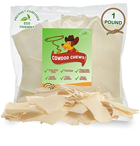 510TEb4YPFL - Cowdog Chews Natural Rawhide Chips – Premium LONG-LASTING Dog Treats with Thick Cut Beef Hides, Processed Without Additives or Chemicals (1 Pound)