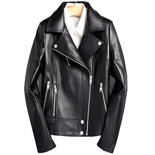 Sheepskin Spring LJYH Womens Leather Slim Bomber Black Jacket Everyday Jacket rdErwqO5