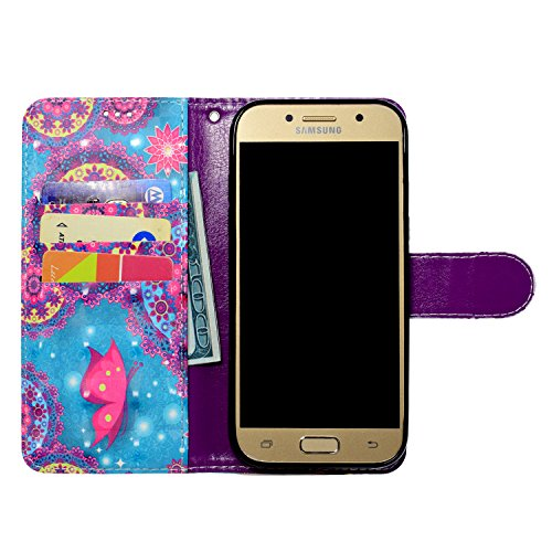 Funda Para Samsung Galaxy A5 2017 , TOCASO Samsung Galaxy A5 2017 Cuero Carcasa Libro de Cuero Con Tapa y Cartera, Carcasa PU Leather Con TPU Silicona Case Interna Suave,Soporte Plegable,Ranuras para  Mariposa