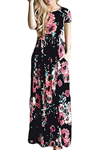 Allfennler Women's Floral Print Round Neck Short Sleeve Summer Maxi Dress