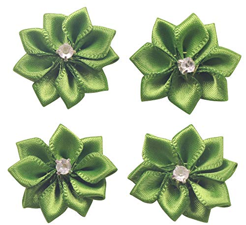 YAKA 60Pcs Green Satin Ribbon Flowers Bows Rose W/Rhinestone Appliques Craft Wedding 1.1inch