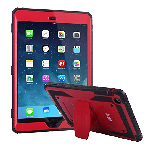 HDE Case for iPad Mini 1 2 3 - Shockproof Rugged Cover Full Body Protective Shell with Kickstand Built-in Screen Protector for Apple iPad Mini (Red)