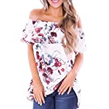 Short Sleeve Tee Blouse for Women, Amiley Womens Off Shoulder Floral Print Short Sleeve Blouses Top Flounce T-Shirt (X-Large, White)