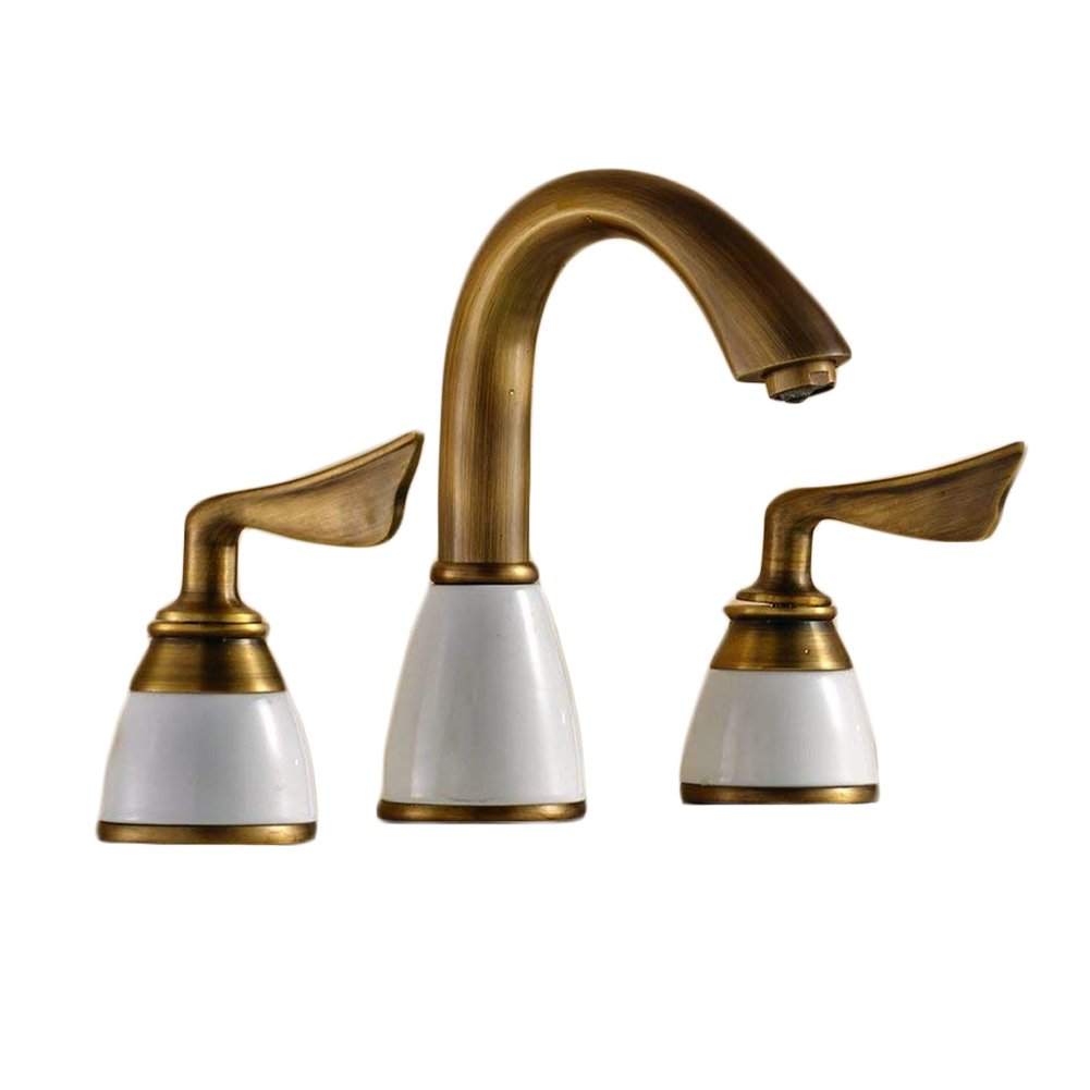 Beelee Luxury Two Handles Deck Mount Bath Tub Faucet Antique Brass Finish Bathroom Sink Faucet Bronze Widespread Bathroom Sink Faucet, Antique Brass Finished
