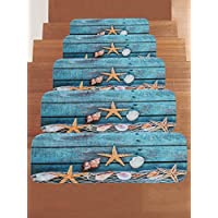 WCHUANG Seashell Starfish on the Wood Board Stair Treads Non-slip Carpet, Rectangle Stair Rugs Pads, Indoor Outdoor Rubber Mats for Staircase, Set of 5, Blue