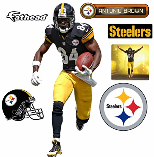 Antonio Brown FATHEAD Pittsburgh Steelers Logo Set Official NFL Vinyl Wall Graphics 17