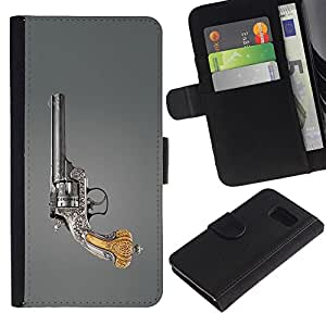 LASTONE PHONE CASE / Lujo Billetera de Cuero Caso del tirón Titular de la tarjeta Flip Carcasa Funda para Samsung Galaxy S6 SM-G920 / revolver rukoyat stvol