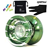 MAGICYOYO K9 Top Refers to the King Aluminum Alloy Yoyo Green&silver Presented 5 String & Yoyo Special Gloves