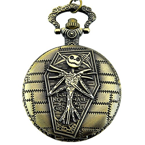 Engraved Tim Burton's Nightmare Before Christmas Pocket Quartz Men Watch Necklace (Christmas Pocket)