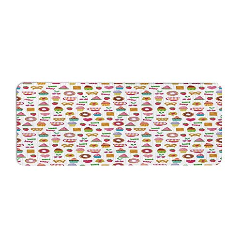 Tea Party Fashionable Long Door Mat,Sweets Candies Cookies Fruit and Other Cute Things Festive Cheerful Collection Decorative for Home Office,23.6