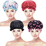 Blulu 4 Pieces Waterproof Shower Cap Bathing Cap Double Layered Shower Hat for Women Favors (Color Set 3)