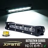 "Xprite C6 Astro Series 30W 8"" Inch Ultra Thin Single Row 4D Optical Lens CREE LED Slim Off-Road Flood Beam Work Light Bar"