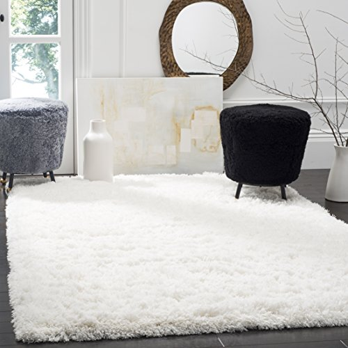 Safavieh Polar Shag Collection PSG800B White Area Rug, 9' x 12'