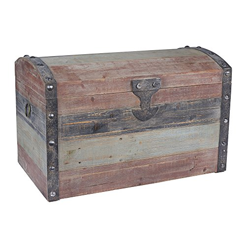 Household Essentials Stripped Weathered Wooden Storage Trunk, Large (Wooden Trunk)