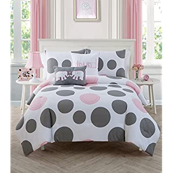 2 piece girls light pink grey white polka dot theme comforter twin set cute fun all. Black Bedroom Furniture Sets. Home Design Ideas