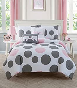 3 piece girls light pink grey white polka dot theme comforter full size set cute. Black Bedroom Furniture Sets. Home Design Ideas