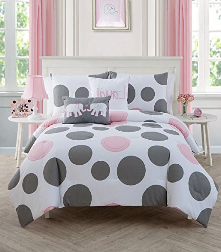 3 Piece Girls Light Pink Grey White Polka Dot Theme Comforter Full Set, Cute Fun All Over Oversized Polkadot Bedding, Girly Large Small Circle Dots Heart Themed Pattern, Soft Coral Rose Gray