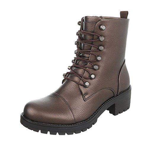 Ital-Design Schnürstiefeletten Damenschuhe Schnürstiefeletten Blockabsatz Schnürer Reißverschluss Stiefeletten Bronze