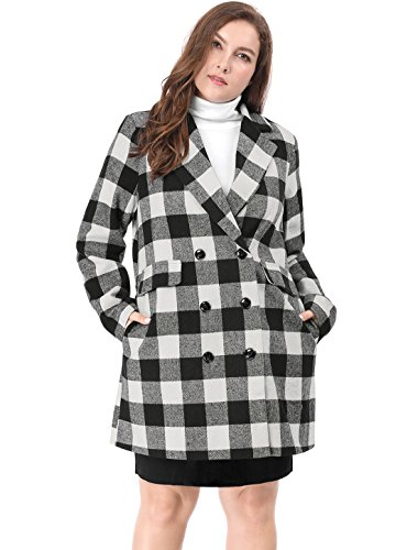 uxcell Women's Plus Size Double Breasted Plaids Coat 2X Black