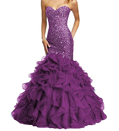 H.S.D Women's Sweetheart Mermaid Beaded Organza Long Prom Dresses Grape Beaded Silk Organza Dress