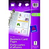 """Avery Business Card Pages, 5-1/2"""" x 8-1/2"""", Clear, 5 Sheets (76025)"""