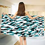 smallbeefly Camo Bath Towel Aquatic Ocean Sea Inspired Illustration Navy Tile Concealment Texture Bathroom Towels Teal White and Dark Green Size: W 27.5'' x L 63''